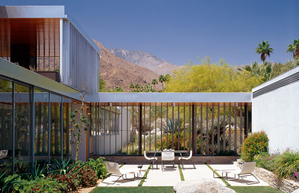 The Kaufmann House (a.k.a. Kaufmann Desert House) is a house in Palm Springs, California, and was designed in 1946 by architect Richard Neutra. One of the most important yet overlooked modern residential architects of the 20th Century, The Kaufmann House is arguably his most famous work. See more here - http://en.wikipedia.org/wiki/Richard_Neutra