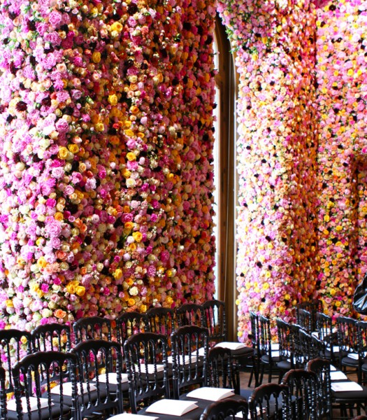 Raf Simons converts a former museum into floral colour. 1 million flowers create the Salon Dior, Salon Bleu, Salon Jaune, Salon Blanc and Salon Rouge. See more here - http://fashion.telegraph.co.uk/article/TMG9397256/Dior-couture-the-making-of-the-million-flower-set.html