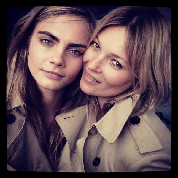 Kate Moss and Cara Delevingne will work together on new Burberry  campaign to launch autumn. Mario Testino is the photographer behind a preview photo of the two British models, both wear the iconic Burberry trench. More info here - http://www.vanityfair.com/online/daily/2014/03/kate-moss-cara-delevingne-burberry