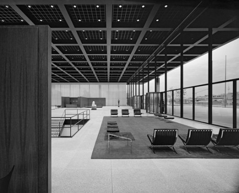 the pavilion entrance area of mies van der rohe's neue nationalgalerie berlin