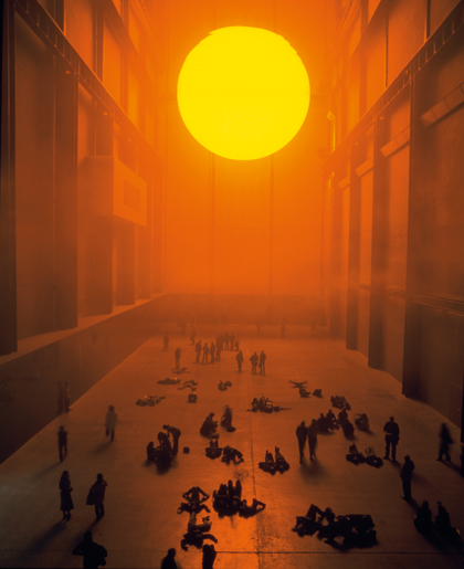 The Weather Project, by Olafur Eliasson in 2003/4 was the fourth installation in the annual Unilever Series of commissions for Tate Modern's, Turbine Hall. A universal subject used to explore ideas about experience, mediation and representation. See more here -  http://www.tate.org.uk/whats-on/tate-modern/exhibition/unilever-series-olafur-eliasson-weather-project and here - http://www.olafureliasson.net/works/the_weather_project_7.html