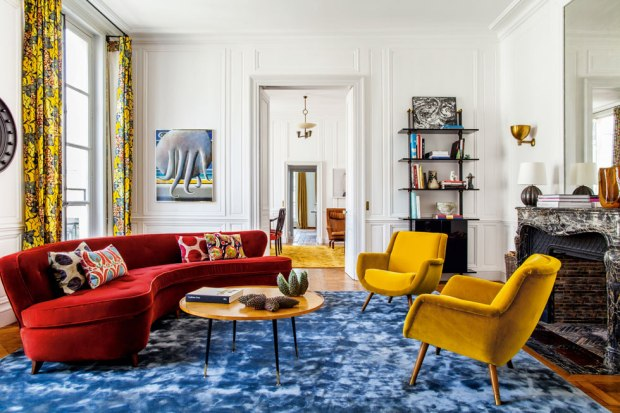 Architect and Interior Designer Luis Laplace has transformed Cindy Sherman's 17th Century Paris apartment, with a bold colour scheme and graphic African prints. Cover shoot photo's for Architectural Digest, Germany by Matthieu Salvaing. See more here - http://www.ad-magazin.de/ad-magazin/november-2013/